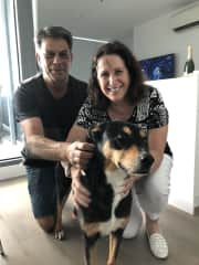 Chris & Clive with our first Melbourne fur baby, Boa