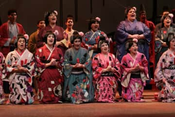 That's me, on the far right, in a Gilbert & Sullivan production of The Mikado. I also designed the costumes.