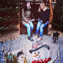 My daughter Melanie, she is working as a flightattend and my dog Matalo from Crete, last year at the Christmasmarket