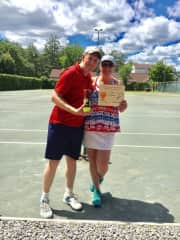 Brandon Sturiale, my son-in-law, & I winning the Green Mansions Tennis Tournament