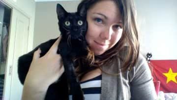 Sarah with Duncan, a former house-sit!