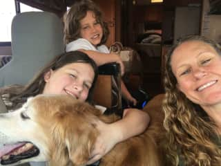 Me, my kids and my pup on our way to camp.