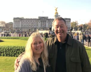 My wife and I at Buckingham Palace