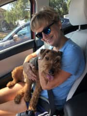 """With my """"grand dog"""" Stan in Oceanside, CA"""