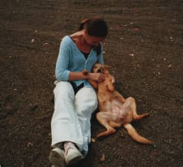 A stray dog during a trip in Kenia and me. It was so hard to leave her there!