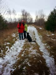 Jerry and Kim hiking with Lillie, Escanaba, MI