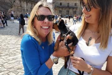Linda grabs a kiss, Santiago de Compostella, Spain