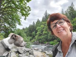 Enjoying tge outdoors w/this sweet girl on sit near Seattle