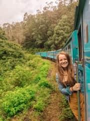 On the train through the jungles of Sri Lanka.
