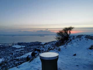 Lots of local walks, this is the top of the Binn, overlooking Burntisland and Edinburgh in the distance.