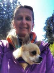 Claudia and sweet snuggle dog, Mosquito - a lovely and intelligent Chihuahua