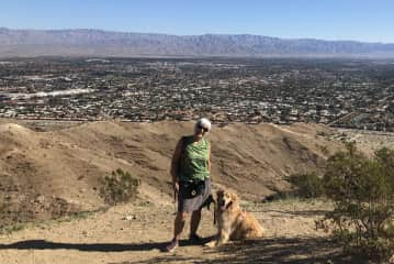 Boomer and me on one of our daily walks/hikes in Palm Desert.  Such a sweet boy!
