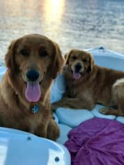 Bodie and Nelly chillin on the boat
