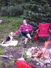 Jen camping with Murphy