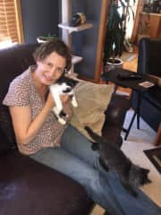 Me with house owner Rick's kittens