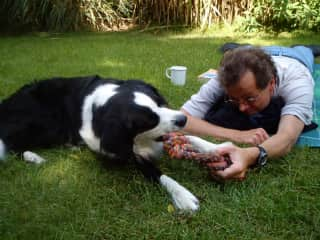 Manfred with our guest dog Wicky
