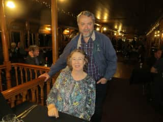 Chris and Del on a paddle wheeler.