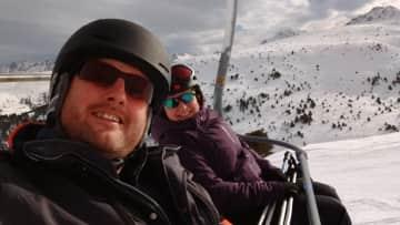 My husband and I skiing - we love it