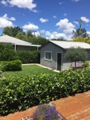 Back garden and garage