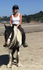 Riding Panda on the beach in Jersey
