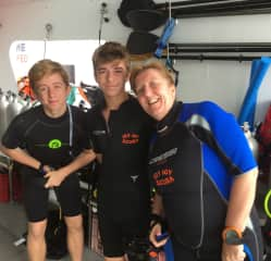 Diving in Bali with my sons Jack and Tom