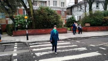 Here is my daughter at the Abbey Road zebra crossing. Our London trip had many musical pilgrimages.