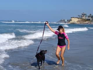 Playing in the surf with Emma in Cardiff-by-the-Sea, California, USA