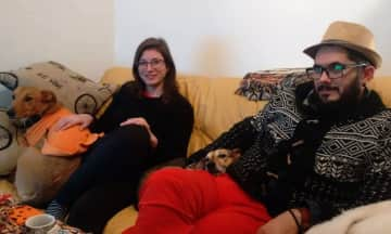With our dog friends, Iñaquita (born in Brazil) and Evita