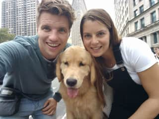 Mike and Lauren with Marley the dog