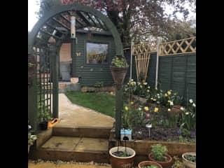 Our garden and garden office.