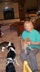 Arlene with furry friends
