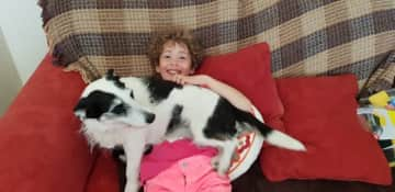 Bebba with Maisie the first furry friend we made while petsitting