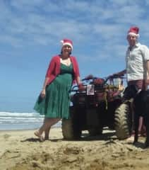Brett and Kalar and Reg, huntaway we cared for for two months, while owners were in UK for Christmas,, at Bayly's Beach, New Zealand