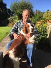 Bob with Flynn - a Springer Spaniel - Blackburn UK 2017