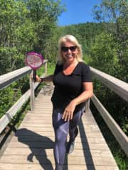 Me acting crazy about black flies on trekking path to mount Daviault or Serverson can't remember which ones. haha!