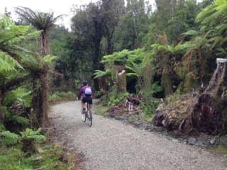 Sherri biking in NZ