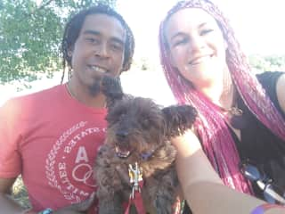 Wayne and Brina with lovely little Pepper during their 2nd house sit (in California)