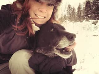 Me and my puppy love Voodoo snowshoeing.