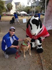 Mark, Sidney and the ChicK-Fil-A mascot @ the Walk for Water Event