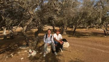 With Daisy and Dotty in Essaouira, Morocco