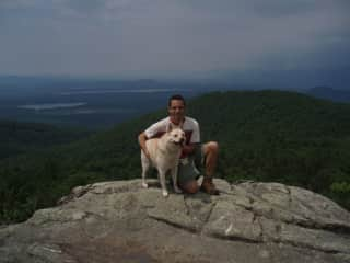 Jerry and Scraps Hiking Pleasant Mountain, Maine