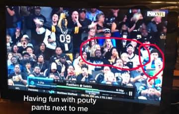 Just having fun at a New Orleans Saints game, on TV no big deal hahahaha