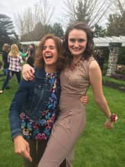 Jean having fun with our daughter Maggie before Prom