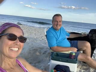 Me and Jim with Rider chillin on the beach