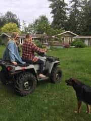 Quading with our dear friends in Canada while Karma (rottweiler) tries to keep up.