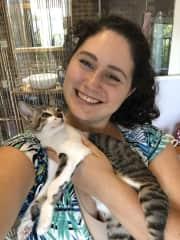 Richelle with foster kitten Jesse in Vietnam