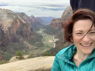 me in Zion National Park, on the Angels Landing trail, April 2019. AMAZING views!  You have to go there if you can.