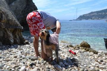 Cuki getting dried after a bath in Villefranche sur Mer