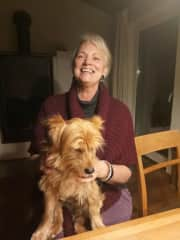 Karin and Mr. Wenzel, the dog of our friend