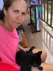 Playing with Chocolina, the cat who lives in our balcony in Koh Phi Phi